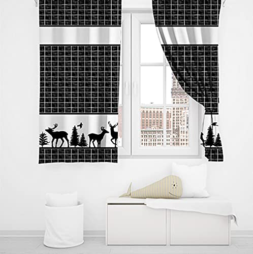 Farmhouse Kitchen Curtains, Deer Forest Plaid Black and White Window Treatment Set, Polyester Fabric Window Drapes, 55X39 Inches