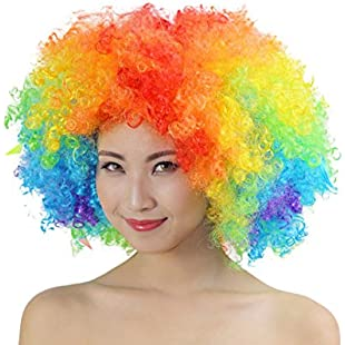 90S Unisex Colored Afro Wig Festival Party Fluffy Curly Wig Disco Costume Wig