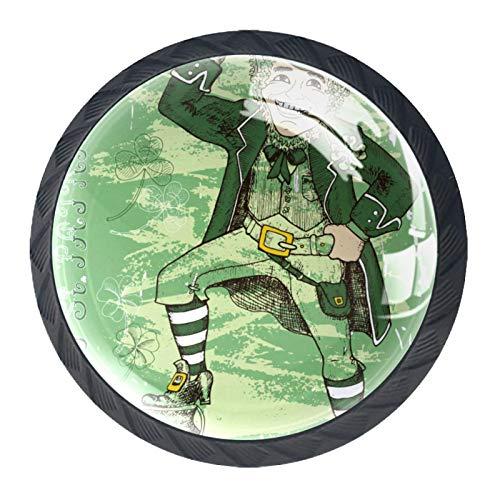 OLEEKA Tirador de manijas de cajón Perillas Decorativas del gabinete del cajón Manija del cajón del tocador 4 Piezas,día de San Patricio Duende con Sombrero Enano