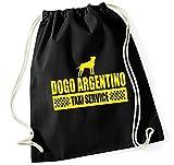 Siviwonder Turnbeutel - DOGO ARGENTINO argentinische Dogge - TAXI - Hund Hunde Baumwoll Tasche Beutel schwarz
