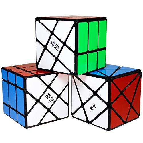OJIN Specific Cube Puzzle Sets-Pack de 3 (Incluye Cubo de 3X3 Fluctuation Angle Puzzle, Windmill Cube 2x3 Shape Mod, Fisher Cube 3x3x3 Shape Twisty Puzzle)