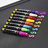 QIANGU Pennarelli, 8 Colori Evidenziatore Fluorescente Pennarello a Gesso Liquido Penna al Neon per Lavagna a LED Lavagna Pittura su Vetro Graffiti Articoli per Ufficio