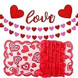 TUPARKA Love Heart Ghirlanda Banner con Red Heart Lace Runner per la Decorazione di Valentine's Day Home Wedding, Addio al Nubilato, Addio al Nubilato Decorazioni per Feste