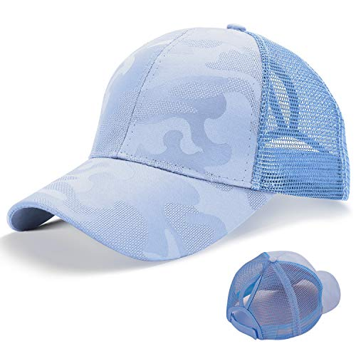 LIVACASA Basecap Damen Mesh Pferdeschwanz Baseball Cap Camouflage Hut Atmungsaktiv Sonnenhut Sonnenschutz Mädchen Kappe Schirmmütze Einheitsgröße 52-61cm Baseballkappe für Sport Reise Blau
