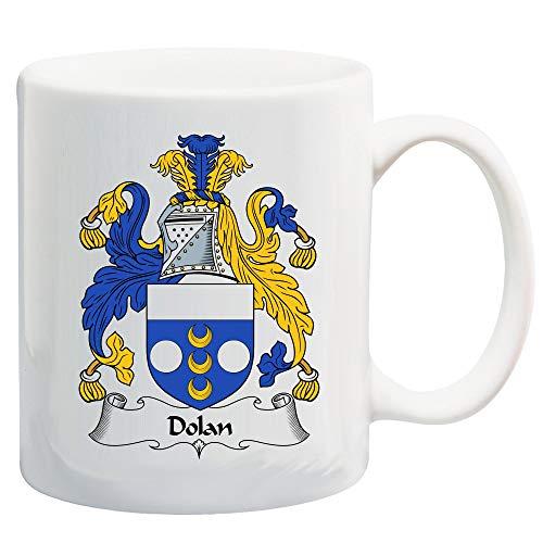 N\A Dolan Shield of Arms/Dolan Family Crest Taza de cerámica de café/Cacao de 11 onzas