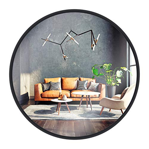 Gold & Chrome Espejo de Pared, Redondo, con Marco de Aluminio | Marco del Espejo con Recubrimiento electrostático de 2 cm de Grosor, fácil Montaje