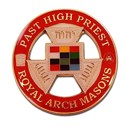 Royal Arch Masons Past High Priest Round Masonic Auto Emblem - [Red & Gold][3'' Diameter]