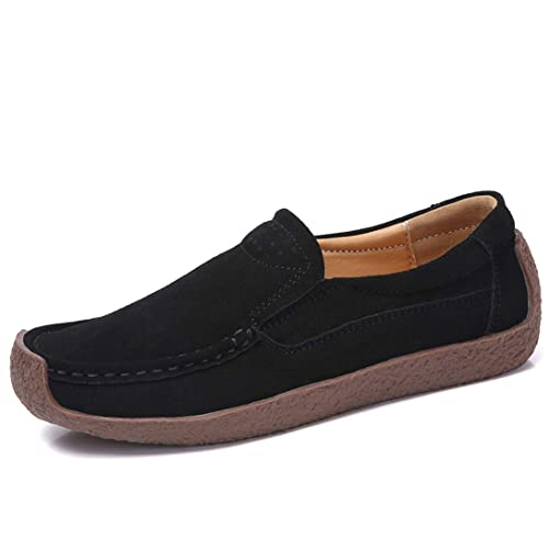 ALLY UNION MAKE FORCE Womens Casual Slip-on Loafer Comfortable Suede Flat Driving Shoes