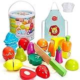 HERSITY Holz Obst und Gemüse zum Schneiden Spielzeug Lebensmittel Spielküche Zubehör Küchenspielzeug Geburtstag Geschenke für Kinder 2 3 4 Jahre