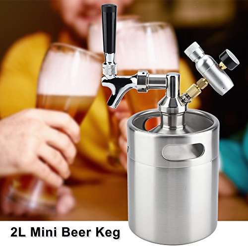 Barril de Cerveza de Acero Inoxidable con Grifo Presurizado 2L Mini Barril de Cerveza, Fermentar, Almacenar y Dispensar Cerveza