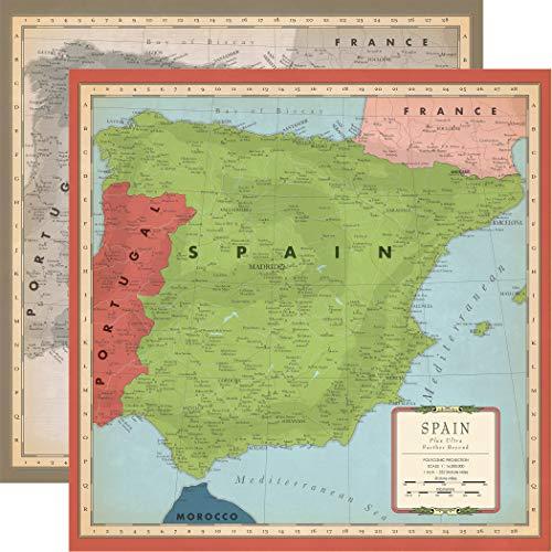 Carta Bella Paper Company - Papel de mapa de España, talla única, sepia, gris, verde, azul marino, rojo, crema