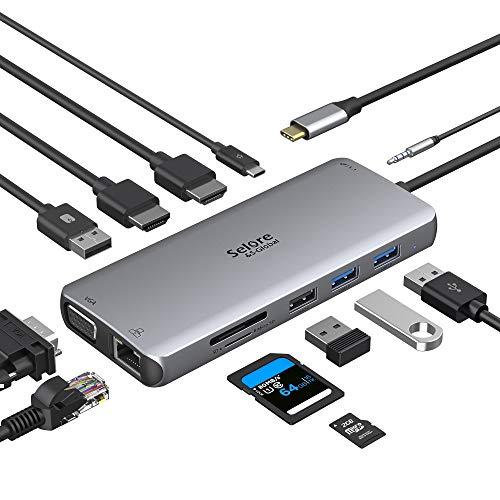 Hub USB C, adaptador multipuerto 12 en 1 a Dual HDMI y...