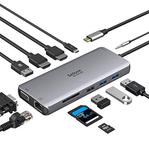 Docking Station für Macbook Triple Display USB C Adapter 12 in 1 USB C Hub MacBook Pro Adapter mit Dual 4K HDMI&VGA, 2*USB 3.0&2.0, Gigabit Ethernet LAN, 100 W PD, TF/SD Kartenleser, 3.5mm Audio/Mic
