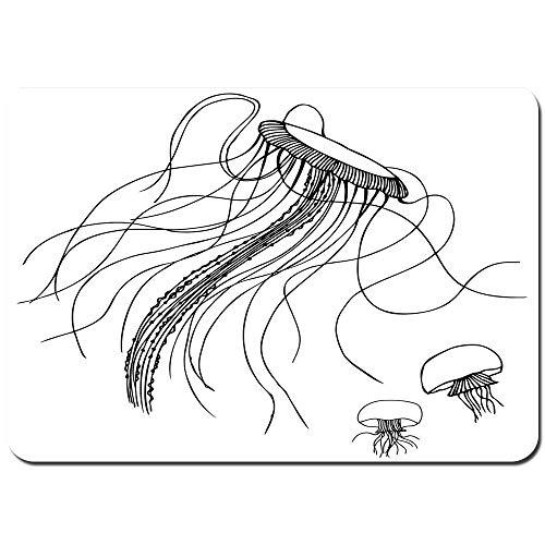 LiminiAOS Alfombra de baño Personalizada, patrón de Dibujo de Medusas, Acuario, océano, Vida submarina, oceanografía, impresión artística, Alfombra de baño de Felpa con Respaldo Antideslizante