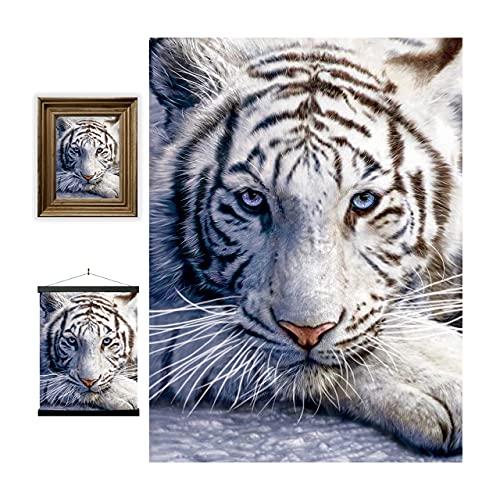 3D LiveLife Lenticular Cuadros Decoración - Reposo del tigre blanco de Deluxebase. Poster 3D sin marco de la jungla. Obra de arte original con licencia del reconocido artista, David Penfound