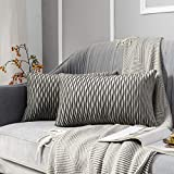 JUSPURBET Decorative Velvet Pillow Covers with Wave Striped,Pack of 2 Luxury Soft Cushion Cases for Couch Sofa Living Room,16x24 Inches,Grey