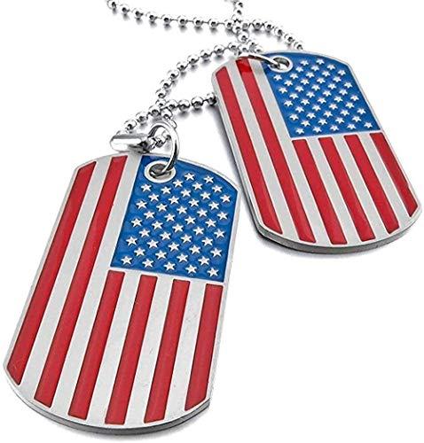 NC66 Joyería Estilo Militar para Hombre, 2 Piezas, Esmalte, Bandera Americana, Collar con Colgante de Etiqueta de Perro