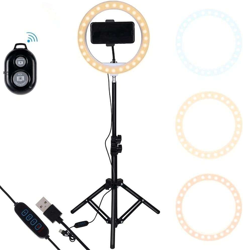 LMJ 10 Inch Ranking TOP19 Ring Light 55% OFF with Holder Phone Holde Mobile Tripod and