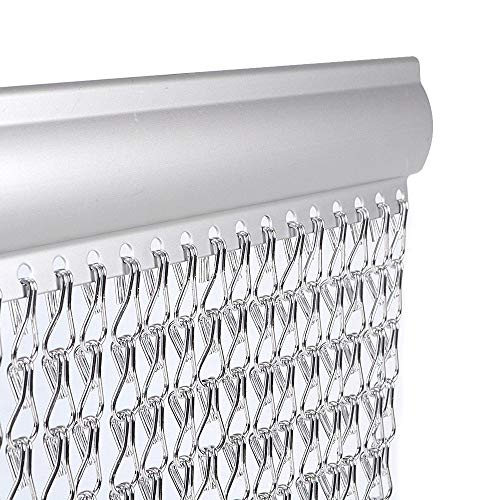 Vermatik® - Rideau de porte anti-mouches - chaînettes en aluminium de haute qualité - empêche les insectes/mouches/guêpes d'entrer - garantie à vie - double crochet - intérieur/extérieur - argenté - 90 x 210 cm
