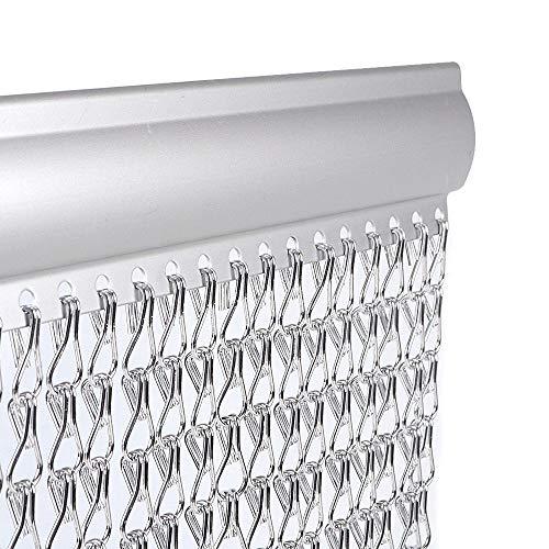 Cortina de cadena plateada de aluminio de 90210 cm para decoración de puertas y ventanas de interiores
