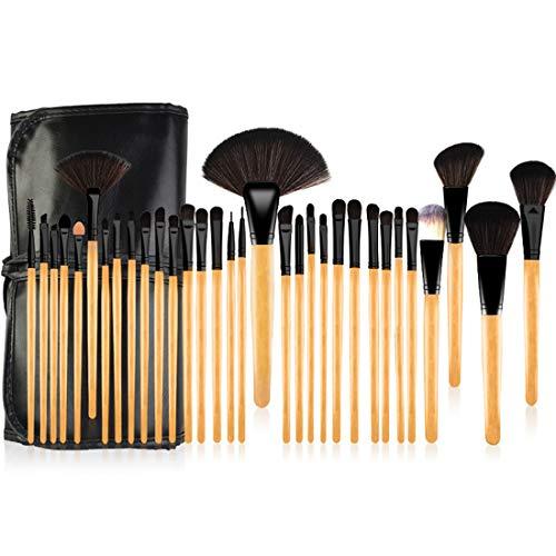 JOMKE 32pcs brosse de maquillage professionnel Set Fondation Visage fard à paupières Eyeliner surligneur Maquillage Kits Brosse (Size : 32-piece)