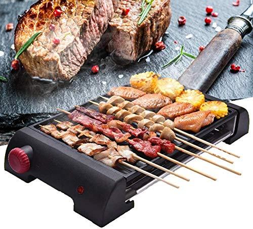 Grill Elektrisch Binnen Rookvrij Non-stick Teppanyaki Elektrische BBQ Tafelgrill met instelbare temperatuurregeling Vet Lekbak Antiaanbaklaag Snel opwarmen met 2 bakplaten (upgrade