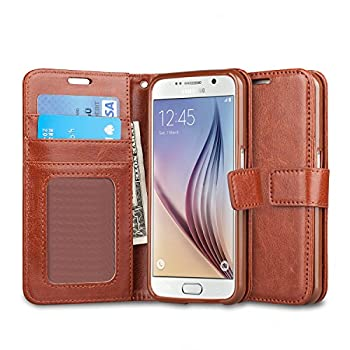 J&D Case Compatible for Galaxy S6 Case [Wallet Stand] [Slim Fit] Heavy Duty Protective Shock Resistant Flip Cover Wallet Case for Samsung Galaxy S6 Wallet Case - Brown