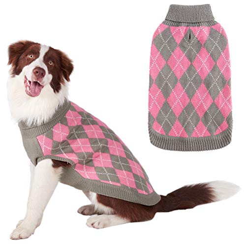 PAWCHIE Classic Dog Sweater Knit Turtleneck, Plaid Knitwear Sweaters, Warm Clothes for Medium Dogs