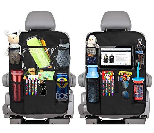 2 protectores para el respaldo del coche, bolsillos grandes y soporte para tableta de iPad, organizador de asiento trasero para niños, protección para el coche (negro)