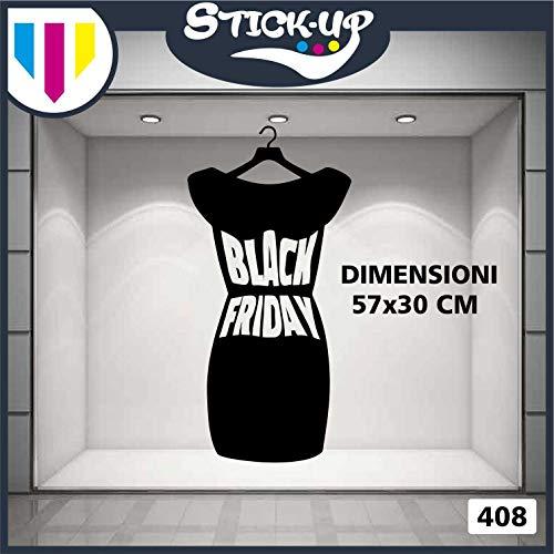 Vetrofanie Black- Vestito BLACK FRIDAY - Vetrofania Bar, Ristorante, abbigliamento - Sign Wall Sticker Adesivo Murale Badge decorativa Adesivo Art Stickers Decal (Nero)
