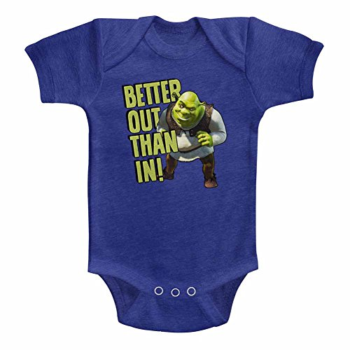 Shrek Unisex-Baby Better Out Onesie, Size: 18M, Color: Vintage Royal