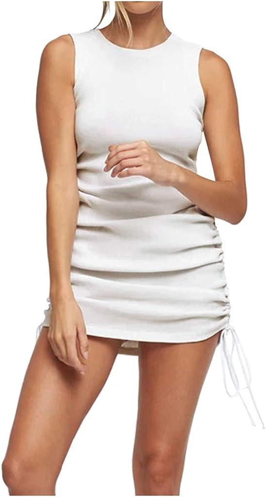 POTO Summer Dress for Women,Women's Sexy Sleeveless Dresses Hip Lift Drawstring Cocktail Party Bodycon Club Dress White