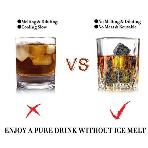 Whisky-Steine Geschenkset, 9er Set Whisky-Steine Kühlsteine aus Natürlichem Speckstein für Getränke mit Stoffbeutel Whiskey Rocks Eissteine Cooling Stones Eiswürfel, Wiederverwendbare Kühlsteine - 3