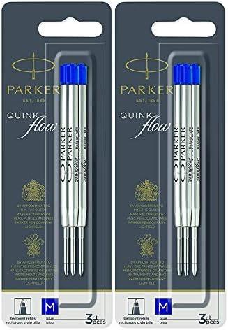Parker QuinkFlow Ballpen Medium Point Blue Ink Refill Pack of 6-Refills(1782470)