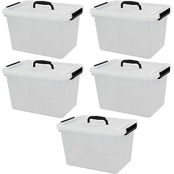 Ordate 13 Litros /12 Quart Caja de Almacenamiento de Plástico con Tapa y Asas, 5 Unidades: Amazon.es: Hogar