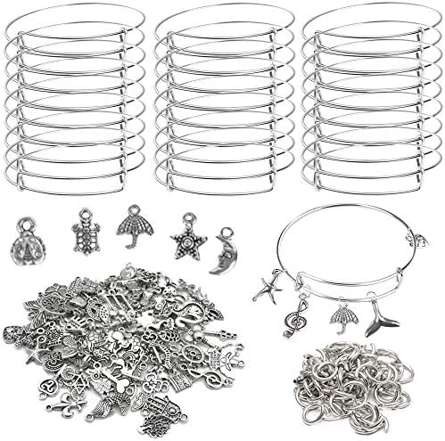 40Pcs Silver Expandable Blank Bracelets Adjustable Wire Bangles with 100Pcs Tibetan Silver Charms product image