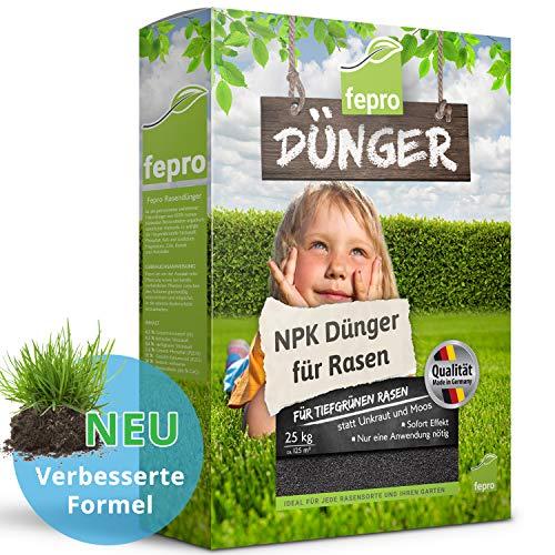 Fepro Rasendünger 25 Kg für ca. 500m² sattgrünen Rasen, ganzjährig - ohne Moos und Unkraut, NPK-Dünger mit Langzeitwirkung