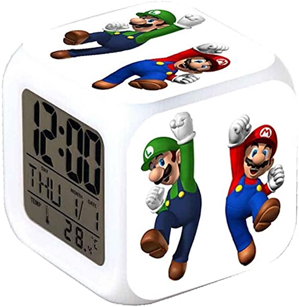 ASLNSONG Super Mario Bros 7 Colors Change Digital Alarm Clock With Time Temperature Alarm Date A