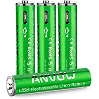 4-Count Anovow Rechargeable AAA Lithium Batteries with Charging Cable