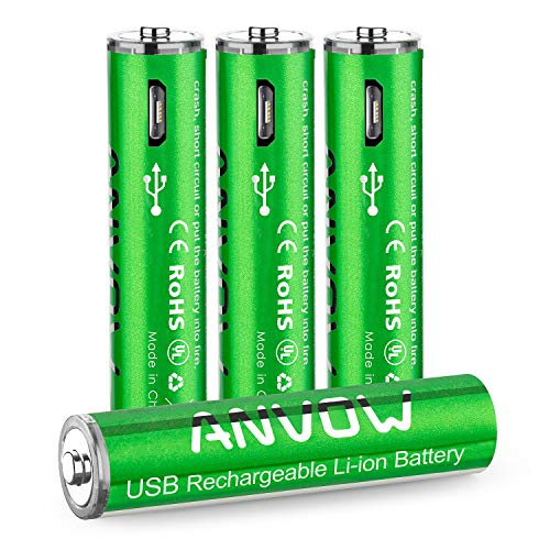 AAA Lithium Batteries, ANVOW Triple A Rechargeable Batteries USB Fast Charging Port 1.5V 800mWh 1000 Cycles Recyclable Recharge Battery, Pack of 4