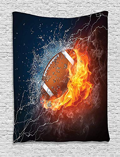 Ambesonne Sports Tapestry, Football on Fire and Water Flame Splashing Thunder Bolt Abstract Conceptual Art, Wall Hanging for Bedroom Living Room Dorm, 60