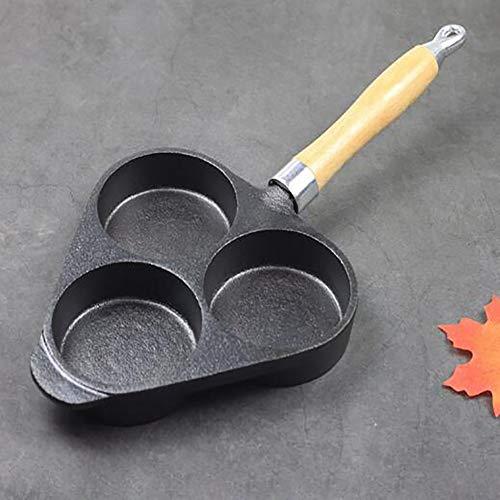 LTJY Nirali 20cm 3 Trous Appe/paniyaram/Mini aebleskiver (Danois Pancake pan) / Mini poêle avec revêtement téflon Classic & Long Manche pour Soutenir