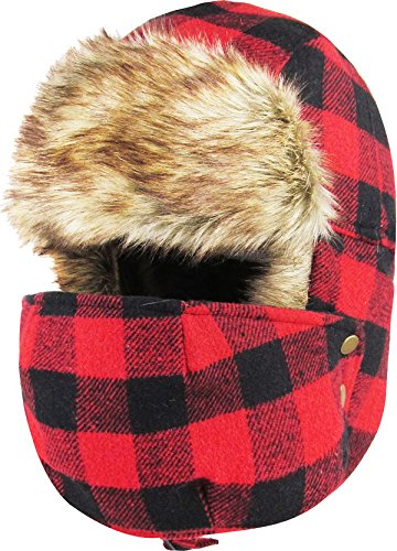 Lumberjack Plaid with Detachable Mask Aviator Trapper Hat Trooper Ear Flaps Ushanka Eskimo Bomber Russian Cold (One Size, Red Black)