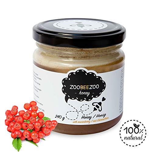 Pure honing met lijsterbessen - biologische honing van hoge kwaliteit - zo gezond als Manuka-honing uit Nieuw-Zeeland - echte bloesemhoning (240g)