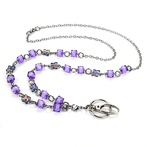 LUXIANDA Purple Crystal Beads Lanyard for Nurse, Teacher and OL, Unique Design Office Lanyard for ID Keys, Badge Holder, Stainless Steel Chain