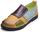 Clarsunny Womens Ethnic Genuine Leather Handmade Flat Multicolor SquareToes Loafers (9 B(M) US, Yellow-Square)