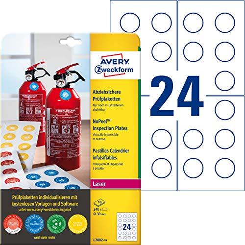 AVERY Zweckform L7802-10 Prüfplaketten bedruckbar (Ø 30 mm auf DIN A4, selbstklebend, abziehsicher, manipulationsichere Dokumentenfolie, Prüfetiketten, blanko) 240 Aufkleber auf 10 Blatt weiß