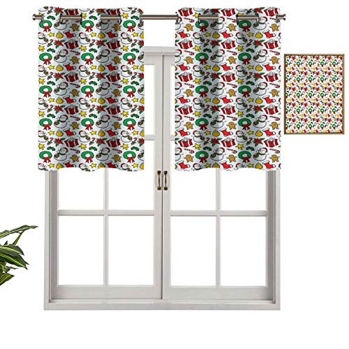 Hiiiman Indoor Privacy Window Valance Curtain Panel Festive Celebration of Xmas Garland Candy Cane Snowman Mistletoe Tree Ornaments, Set of 2, 42'x24' for Sliding Patio Door/Dining