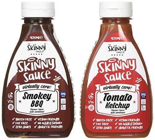 The Skinny Food Co. Skinny Syrup Twin Pack, Smokey BBQ, Tomato Ketchup