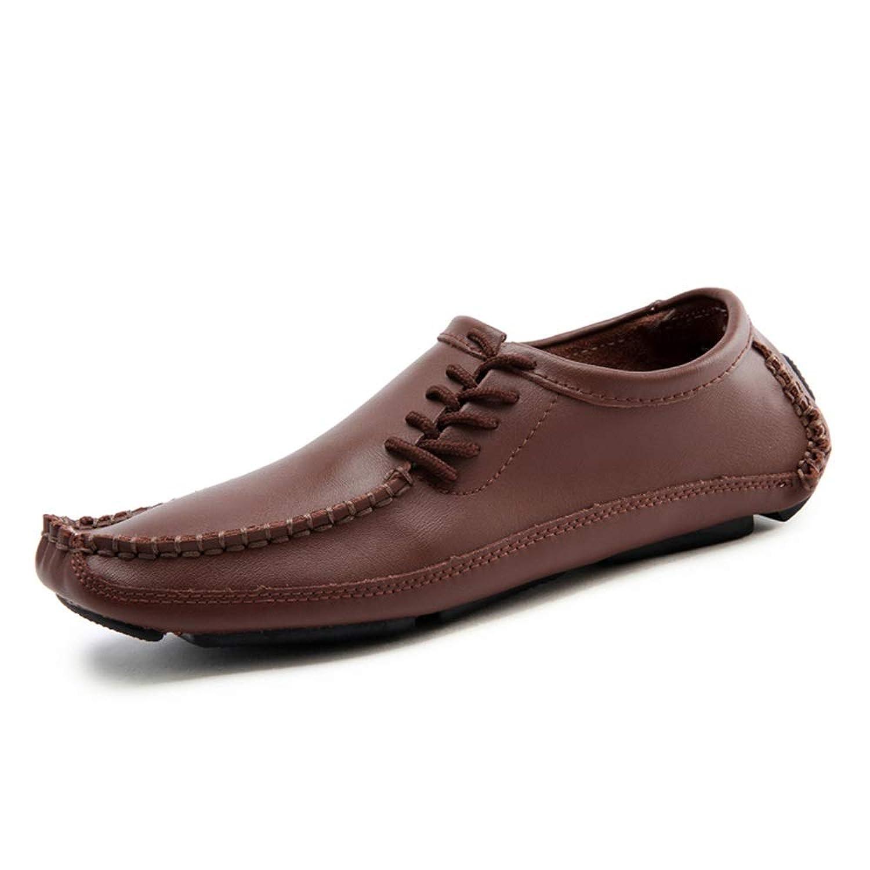 男士革靴 男性のための手作りのカジュアルドライビングシューズ本革軽量快適な通気性のビジネスローファー滑り止めフラットラウンドトゥレースアップ 個性な (Color : 褐色, サイズ : 24 CM)